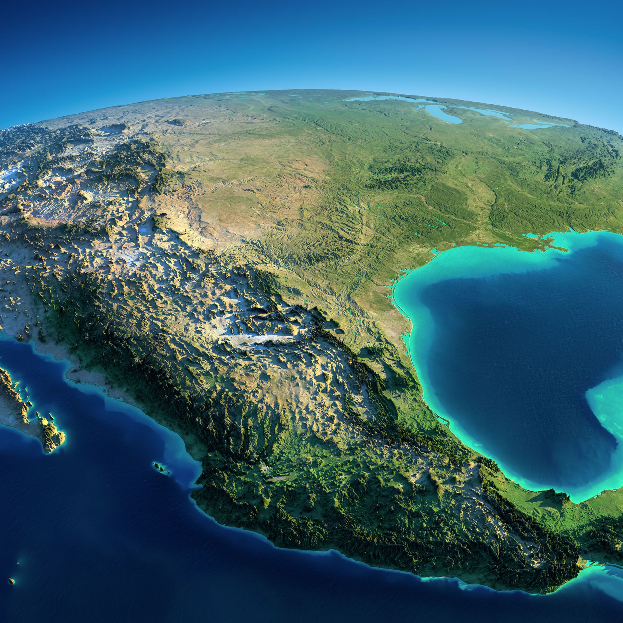 Exaggerated Relief Map Of Mexico