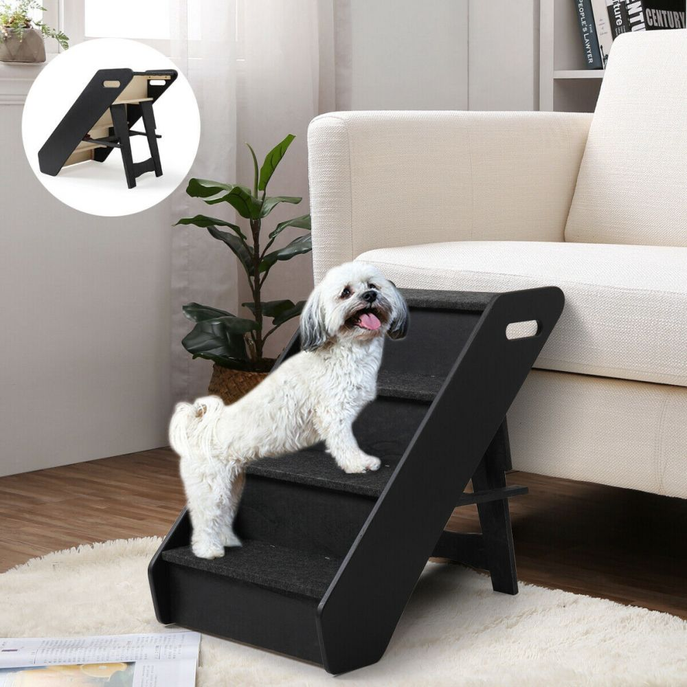 Raised Edge Carpeted 4 Steps Tall Pet Stairs Dog For Bed Suv In