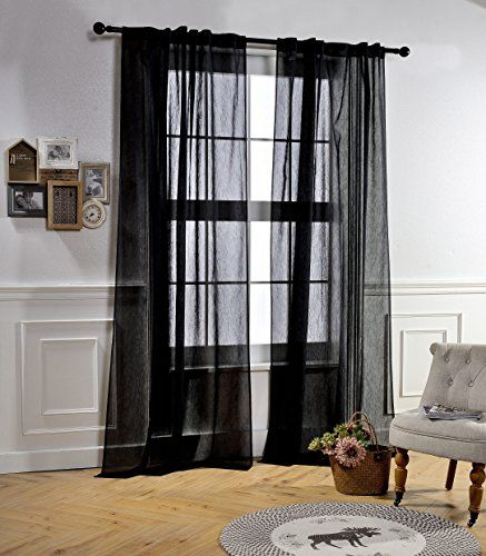 Sheer Privacy Curtains for Living Room by MYSKY HOME Rod Pocket and