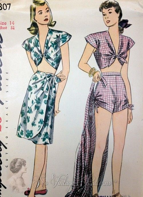 1940s Beachwear Swimsuit Playsuit and Sarong Wrap Skirt Pattern ...
