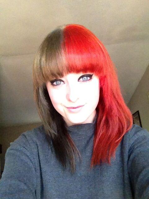 New Hair Half Black Half Red Best Hair Dye Red Scene Hair Long Gray Hair