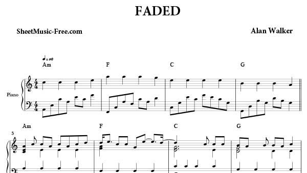 Faded Sheet Music Alan Walker Sheet Music Piano Sheet Music