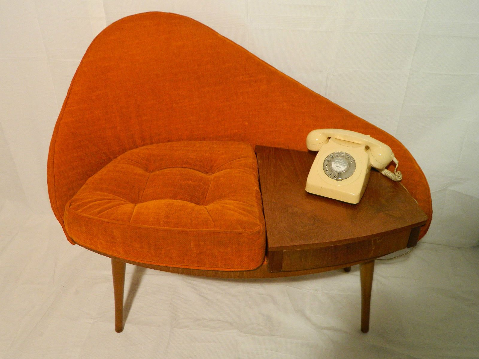 Vintage Mid Century Egg 1960`s Chippy Heath Telephone Seat Atomic Retro  Rare | EBay