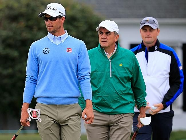 Adam Scott with his father Phil Scott and brother in law Brad Malone ...
