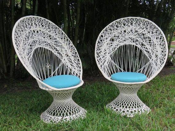 Pair Mid Century Modern Spun Fiberglass Peacock Chairs By Russell