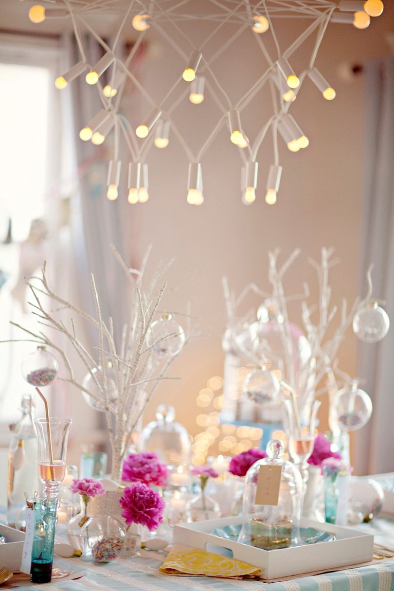 White christmas table decor - House Design Amazing Others Pastel Holiday Decor For Christmas With So Much Glass Lamps And