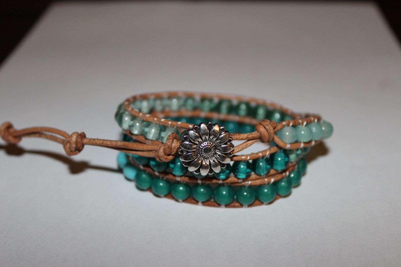 Wrap Bracelet - Blue Ombre, Beaded Bracelet, Beaded Wrap, Leather Wrap, Jewelry, Handmade, YoungBeadsCrafts by YoungBeadsCrafts on Etsy