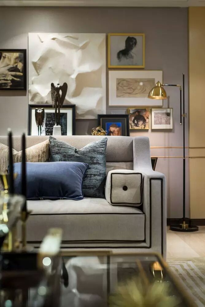 Living Room Color Combinations | 万科翡翠滨江二期155复式样板间 Home Furnishing Pinterest Living