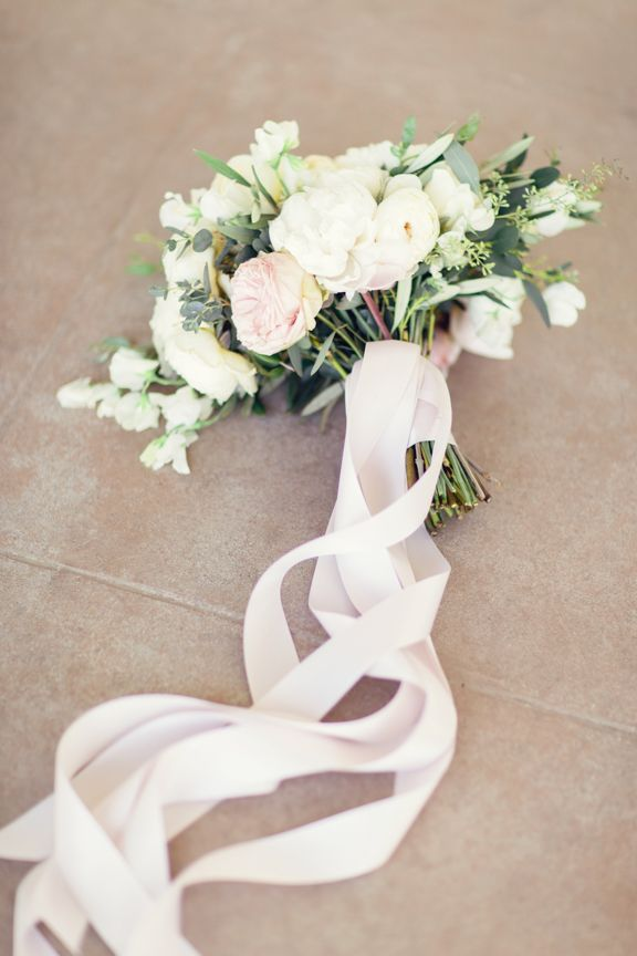 Romantic Bouquet With Long Ribbon Wrap | Wedding Flowers | Pinterest ...