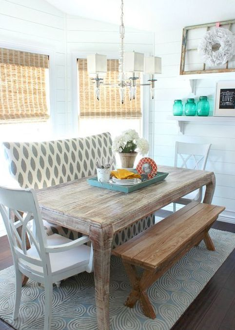 21 Cool Beach Style Dining Design Ideas Which Are Beach Themed Today The Beachy Look Was Attained In So Many Different Kitchen Seating Home Dining Room Table