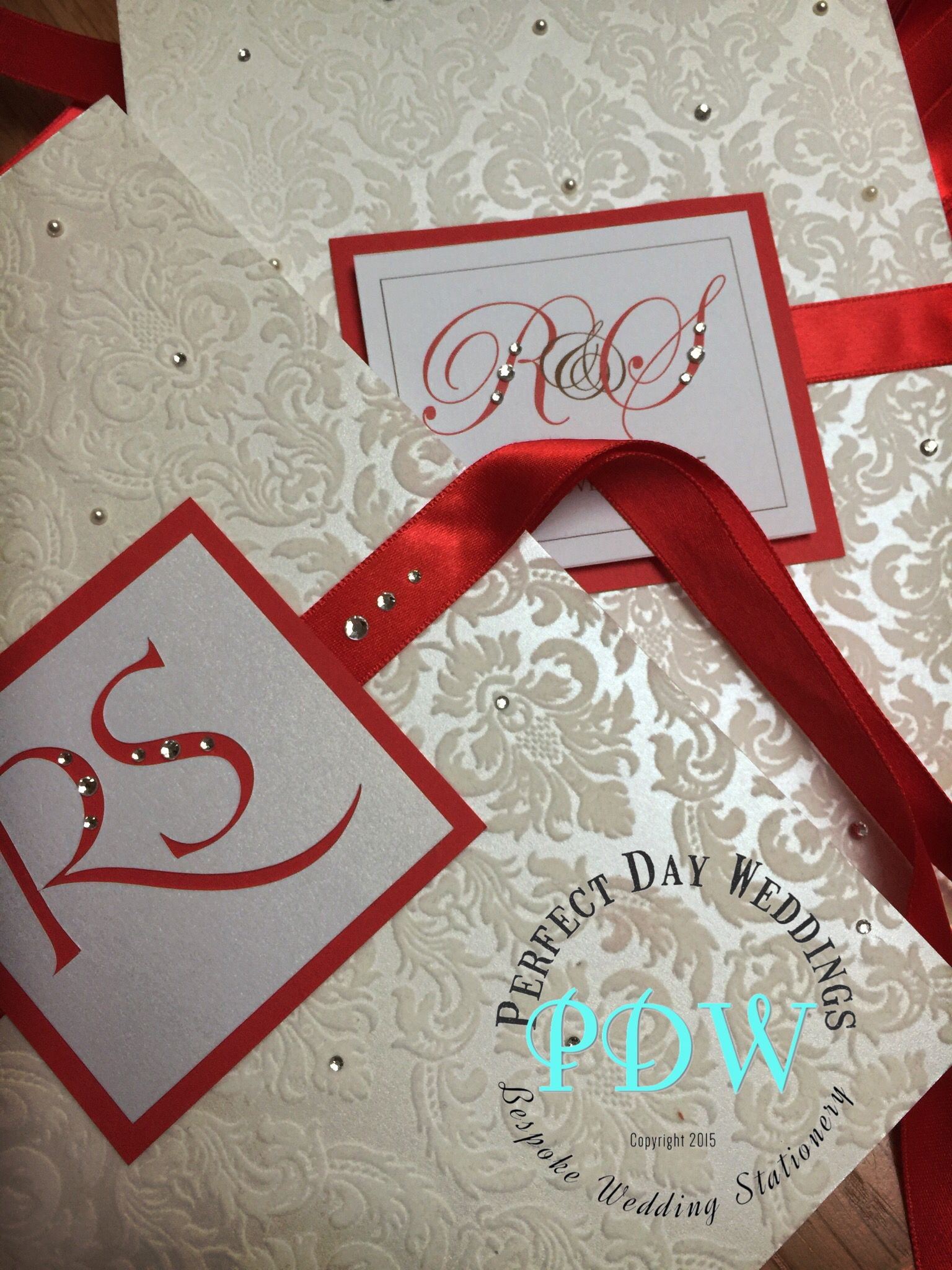 Beautiful Red Indian Wedding Invitation With Flock Card And Satin