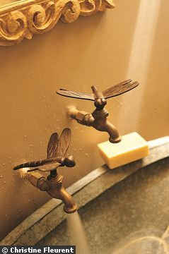 """dragonfly faucet handles >> La vasque en zinc d'un petit lavabo est survolée par deux robinets """" Libellule """"."""