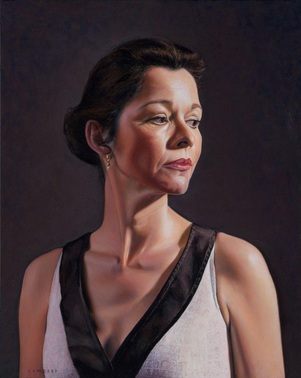 Gert Lambert - 'Els in Evening Dress (Thierry Mugler)', 2014  Oil on Panel; 40 x 50 cm