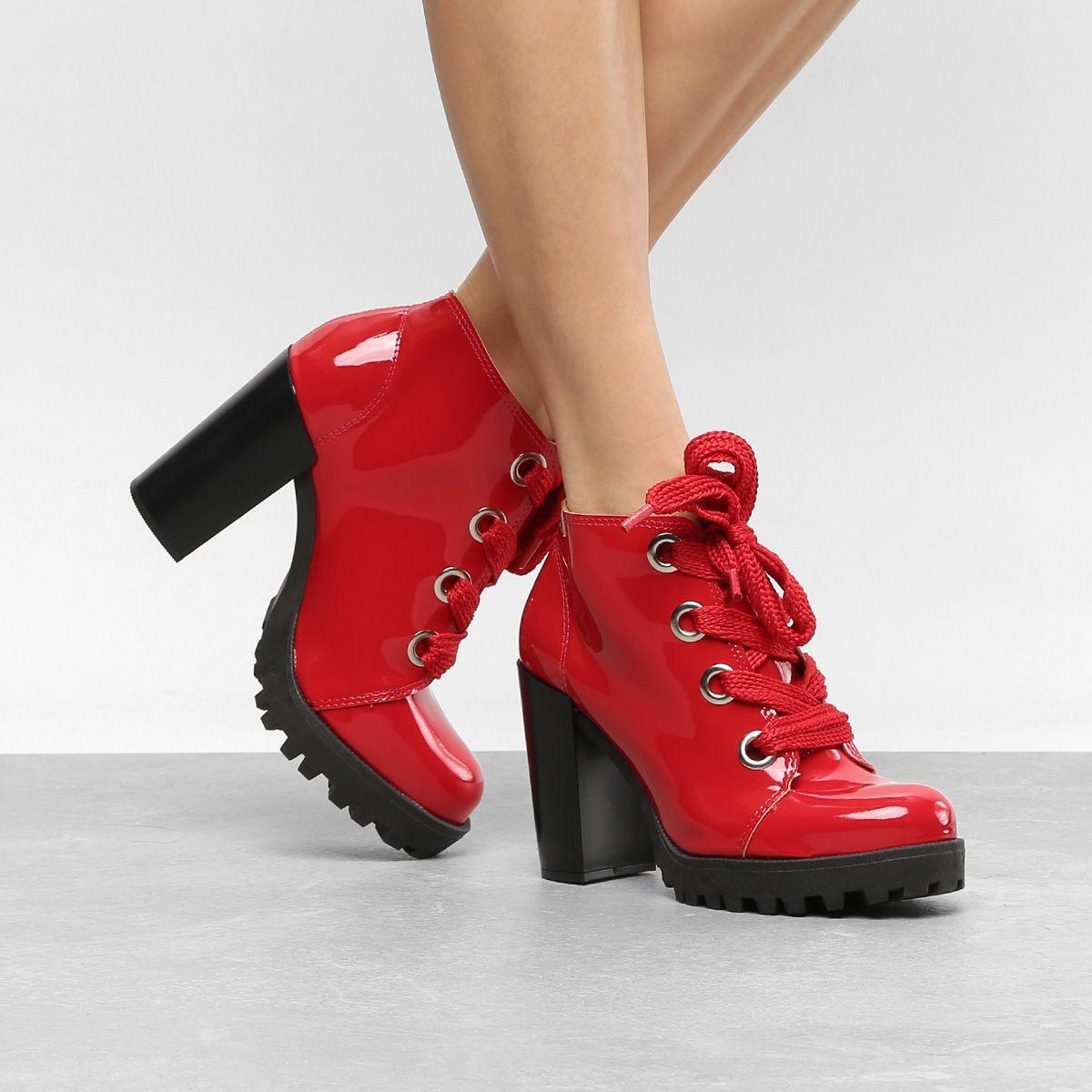 38f97a3a3e Bota Coturno Moleca Tratorada Verniz Feminina - Vermelho #moda #fashion  #modafeminina #red #bota #estilo #style