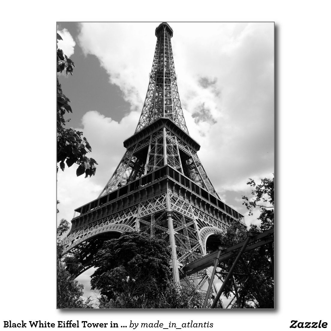 Black White Eiffel Tower in Paris Postcard