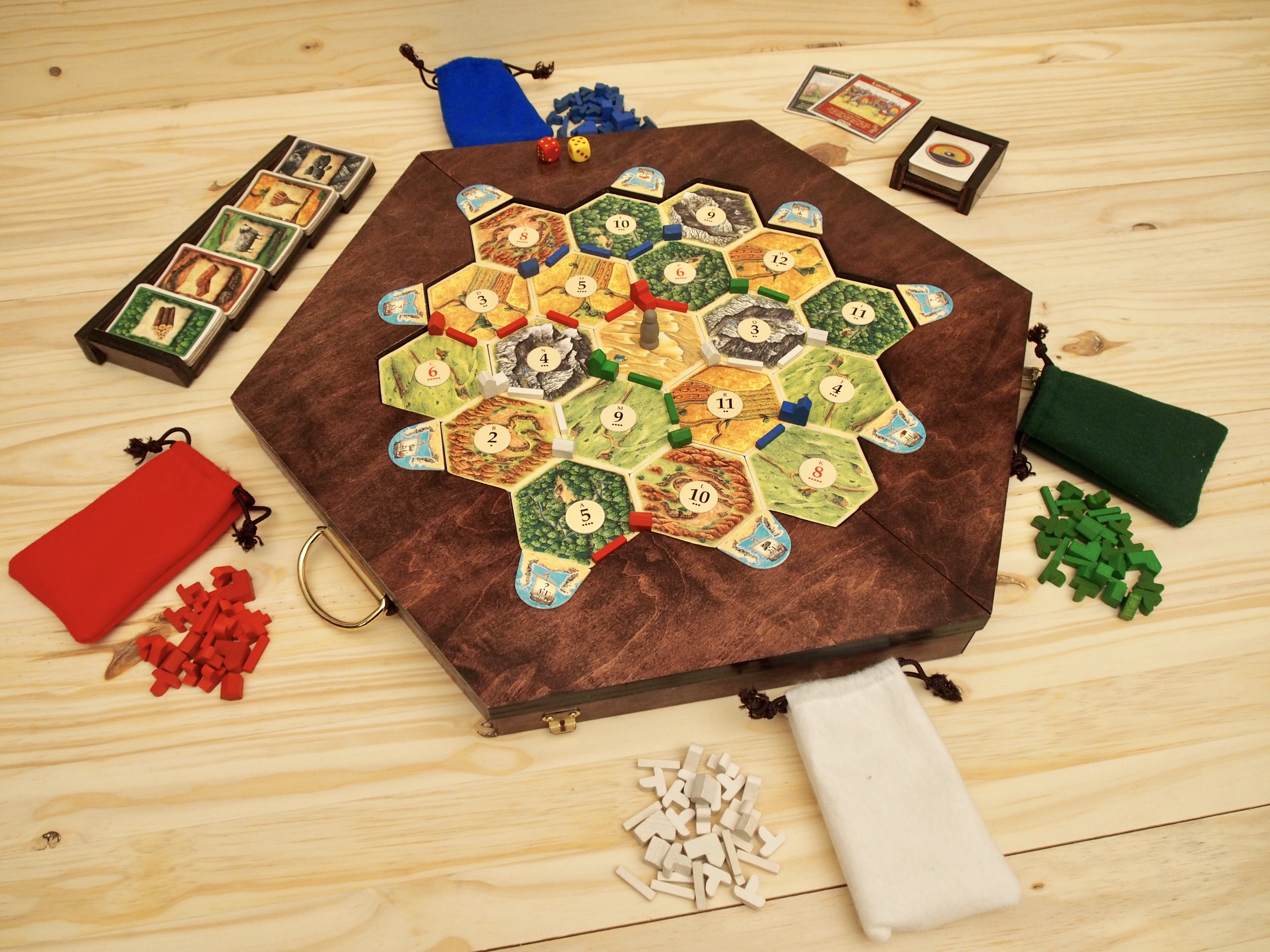portable settlers of catan game board storage case and card holders