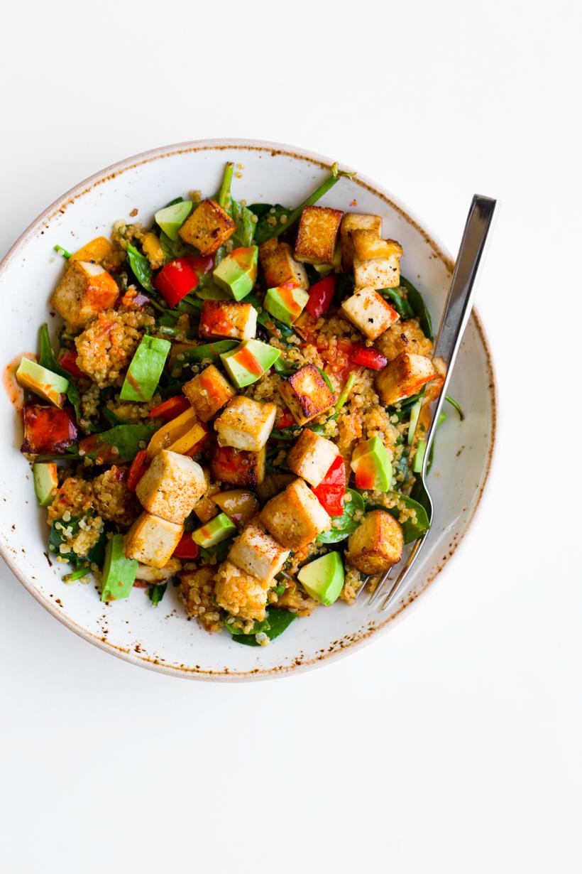 Spicy Southwest Tofu Quinoa Bowl Healthyhappylife Com Tofu Recipes Vegan Meal Plans Flavorful Recipes