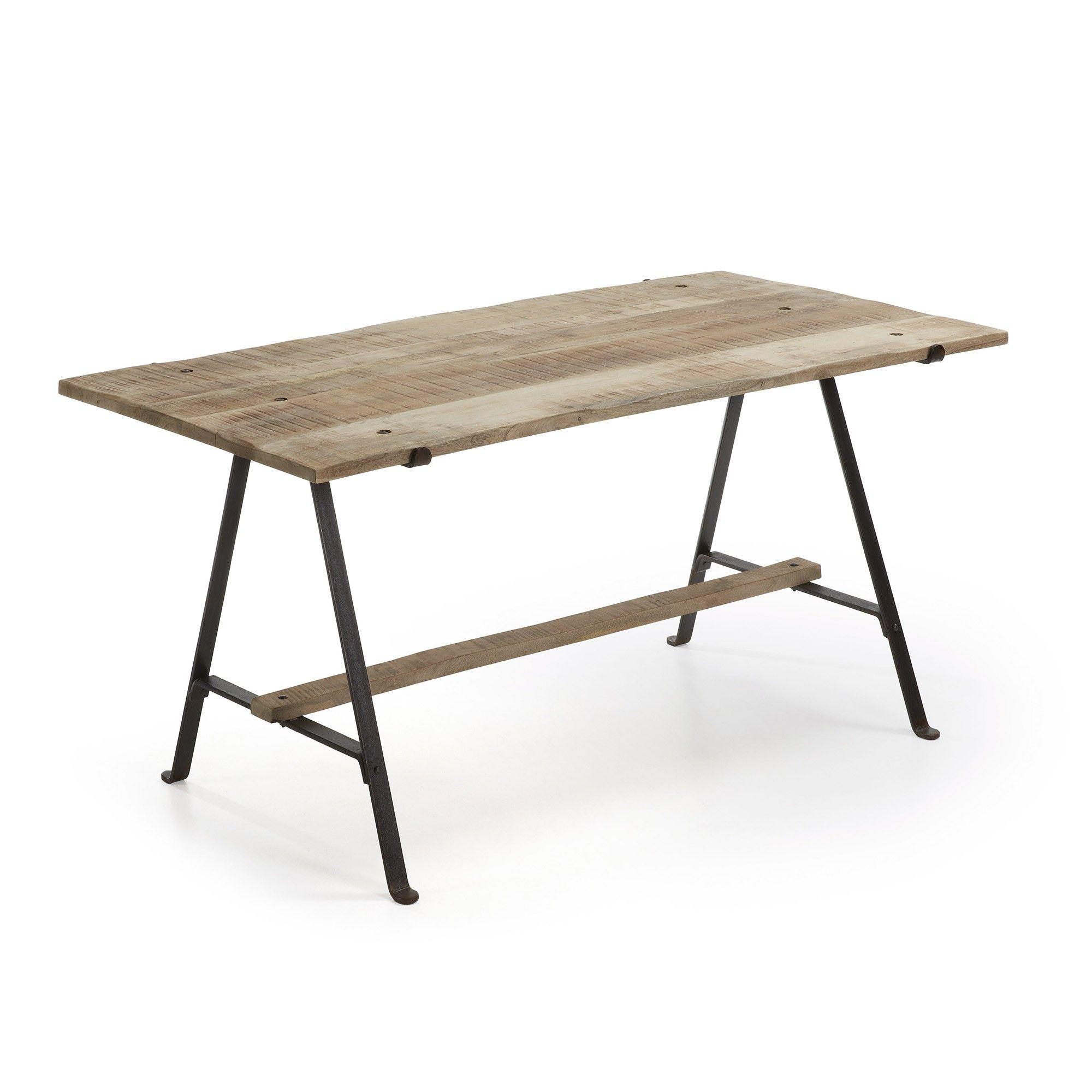 Table bois de pin et fer noir et naturel L180 529€