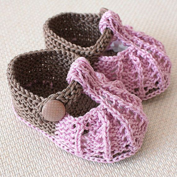 Knitting Pattern (PDF file) Little Beads Baby Shoes (sizes 0-3/3-6/6 ...