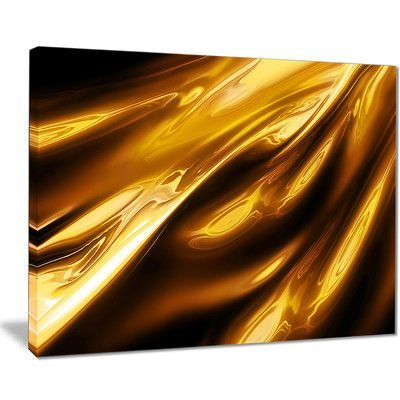 "DesignArt 'Liquid Gold Texture Pattern' Graphic Art on Wrapped Canvas Size: 30"" H x 40"" W x 1"" D"