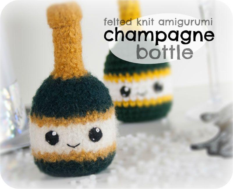 Free Knitted Amigurumi : Free felted knit amigurumi champagne bottle pattern champagne