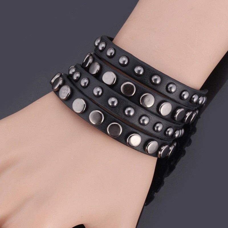 free size leather wrap around bracelet gift for men stainless steel jewelry for men
