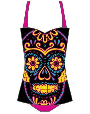 cadbdcd0a3640f Rockabilly Sugar Skull Pinup Bathing Suit Too Fast Swimsuit Day of Dead  Retro