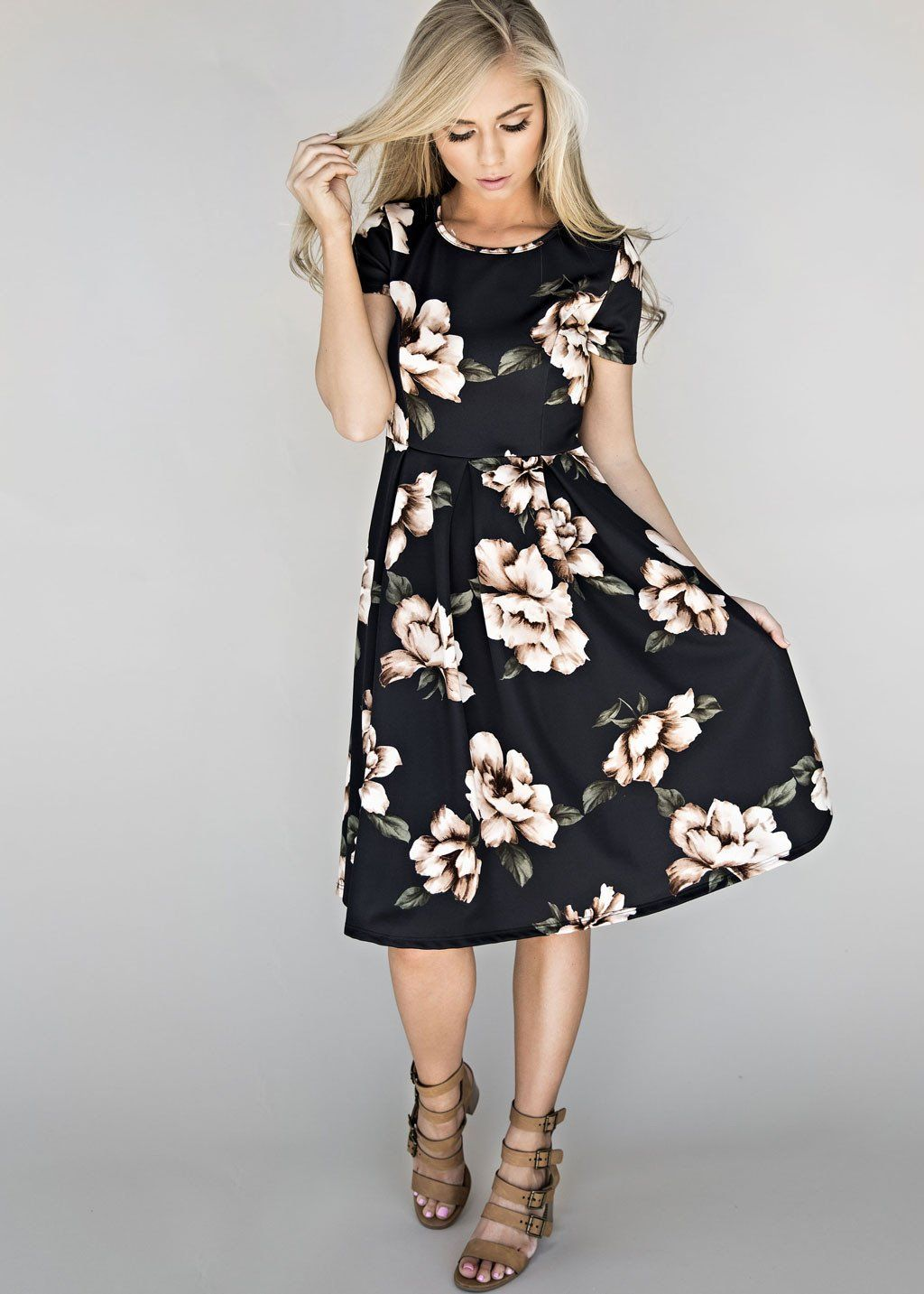1727780cbf2 Blooming Black Midi Dress