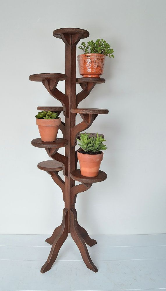 vintage tall handmade wooden tiered plant stand flower pot stand projects pinterest. Black Bedroom Furniture Sets. Home Design Ideas