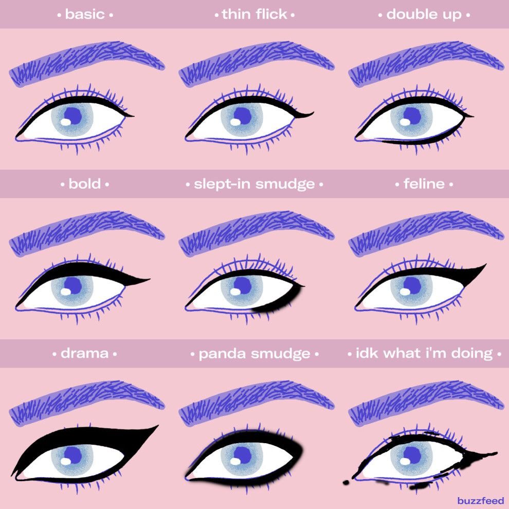 And experiment with different eyeliner styles chart makeup and 19 makeup charts that youll cherish and save forever geenschuldenfo Image collections