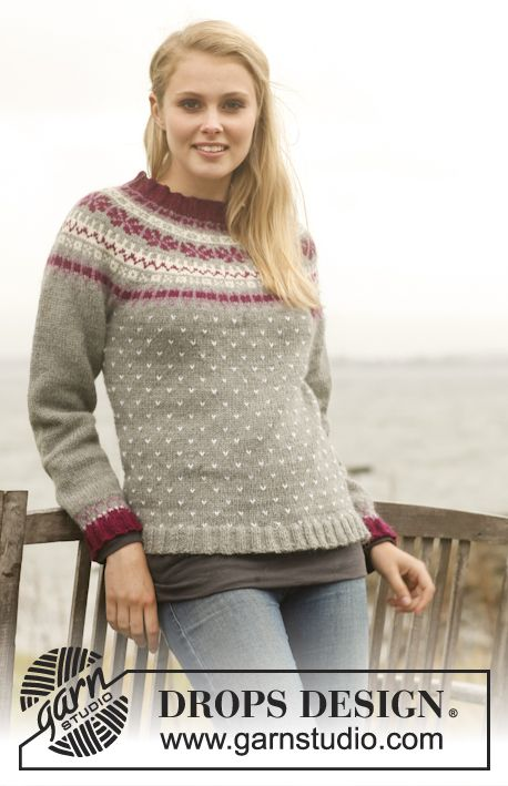 Knitted DROPS jumper with round yoke and Nordic pattern in Lima ...