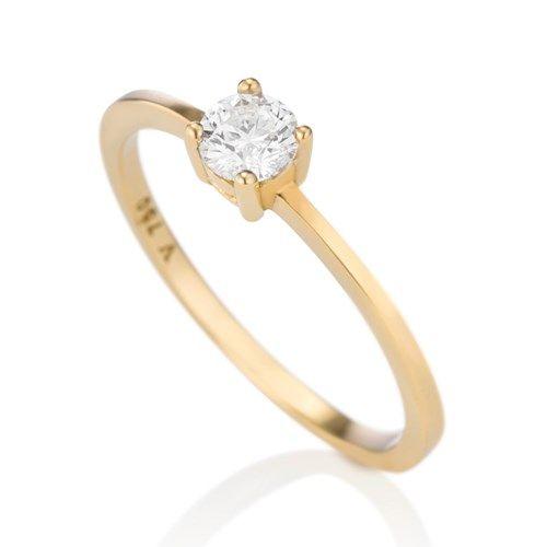 Anel em ouro amarelo 18k e 30 pontos de diamante - Coleção Solitário ... 53892f8c2d