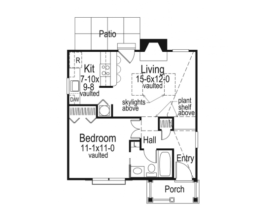 30x24 House 1 Bedroom 1 Bath 720 Sq Ft Pdf Floor Plan Model 5 One Bedroom House Plans Pool House Plans 1 Bedroom House Plans