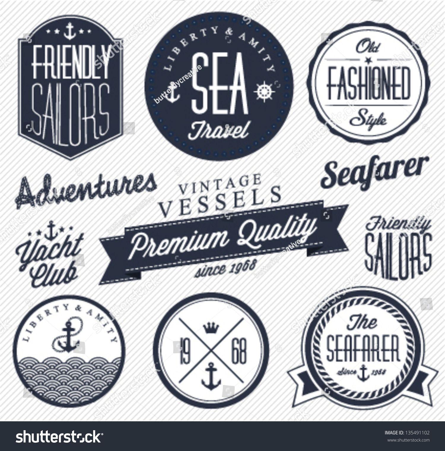 Nautical fonts vintage nautical badge design icon design logo design retro