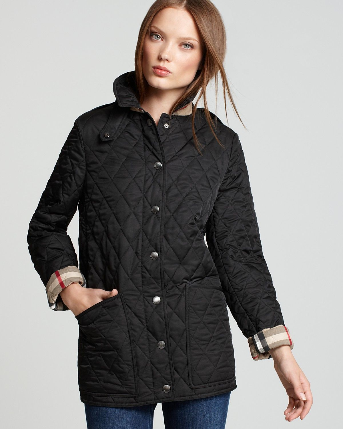 jacket image oversized women in black burberry quilt hood gallery quilted detachable