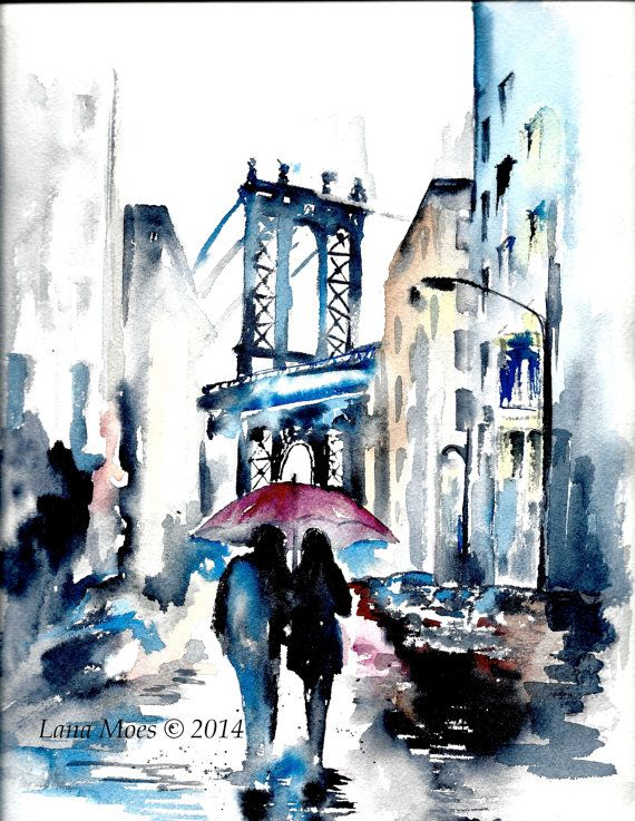 Photo of New York Romantic Travel Illustration, Love Travel Umbrella, NYC Watercolor, Wanderlust Painting by Lana Moes, New York for Two – Watercolor