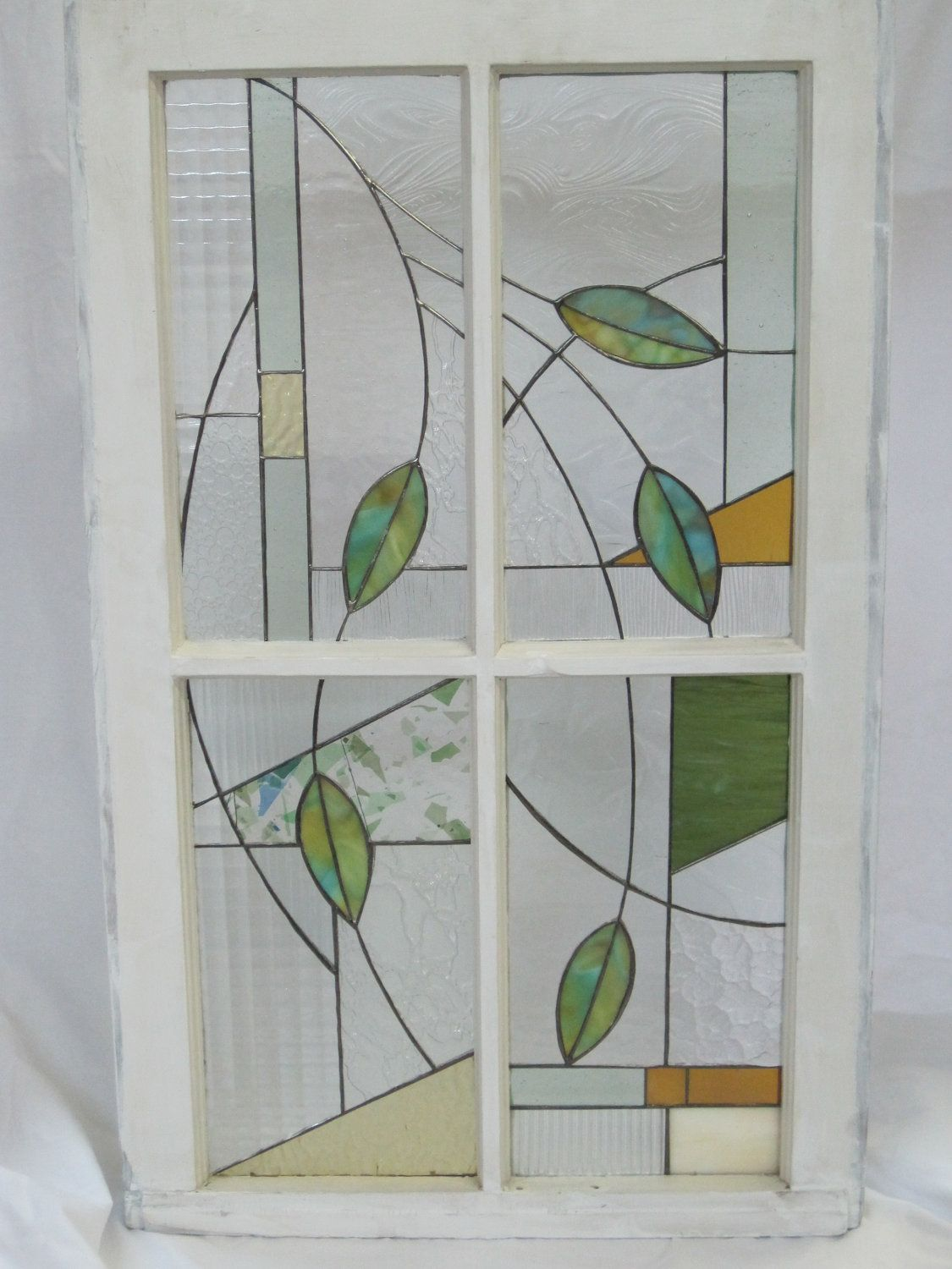 Stained Glass Leaves in Shabby Chic Frame. $350.00, via ... - photo#17