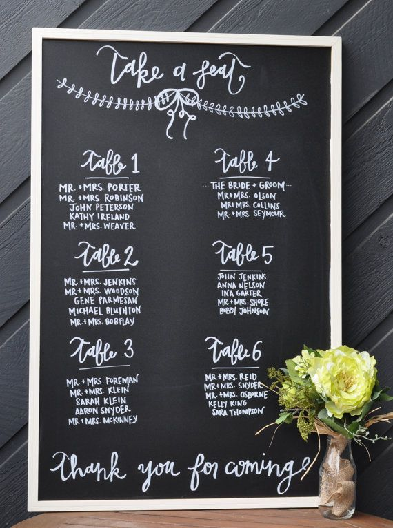 Chalkboard wedding seating chart 23x35 chalkboard wedding