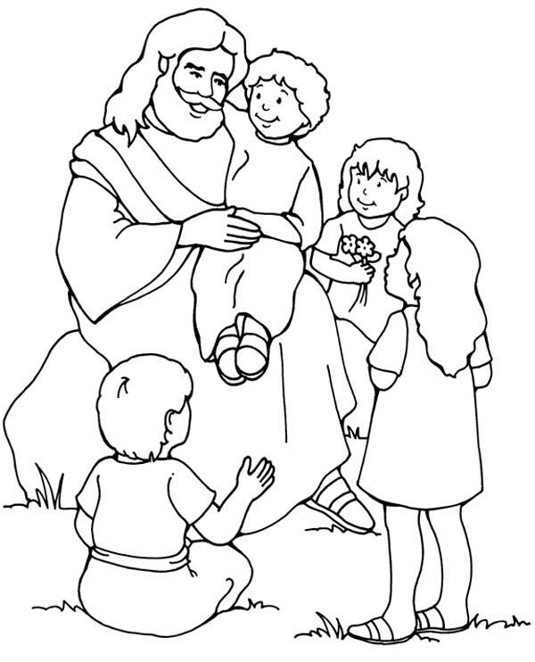 Children Coloring Jesus Little Loves Pages 2020 In 2020