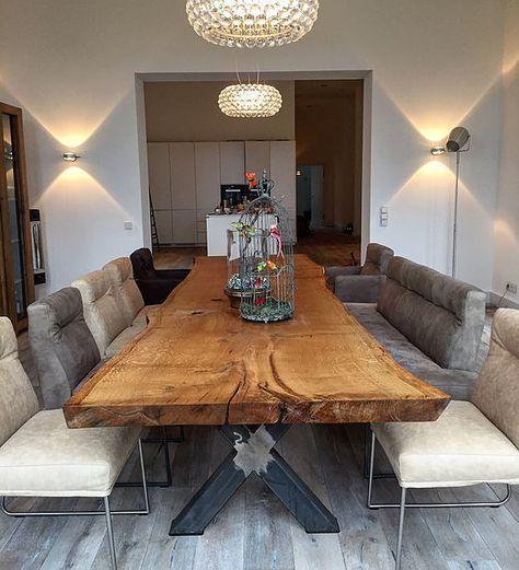 Photo of Mesa de roble mesa de árbol mesa de comedor sin pegar de una pieza Holzwerk Hamburg