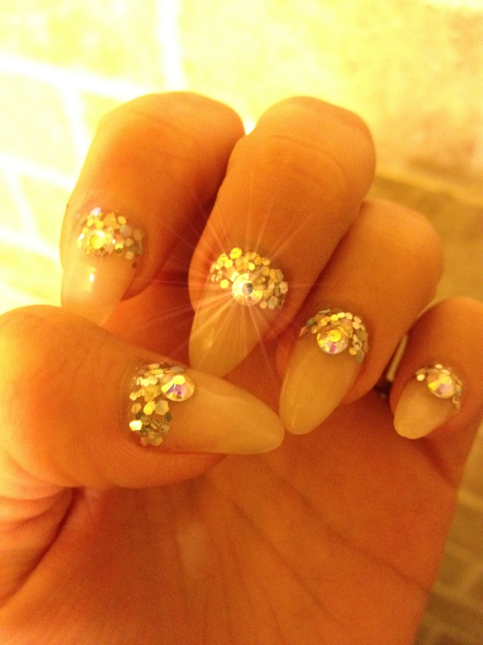 almond nails with bling nail