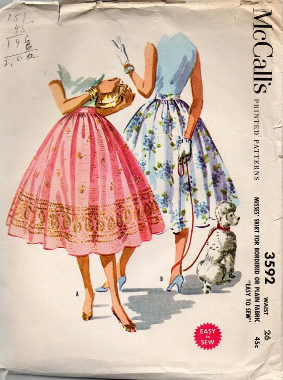 McCalls 3592 1950s Misses  Rockabilly Full Circle Skirt vintage sewing pattern  by mbchills