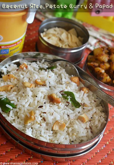 Coconut Rice And Potato Curry Kids Lunch Box Recipes Idea 15 Sharmis Passions Indian Food Recipes Vegetarian Lunch Recipes Indian Kids Lunch Recipes