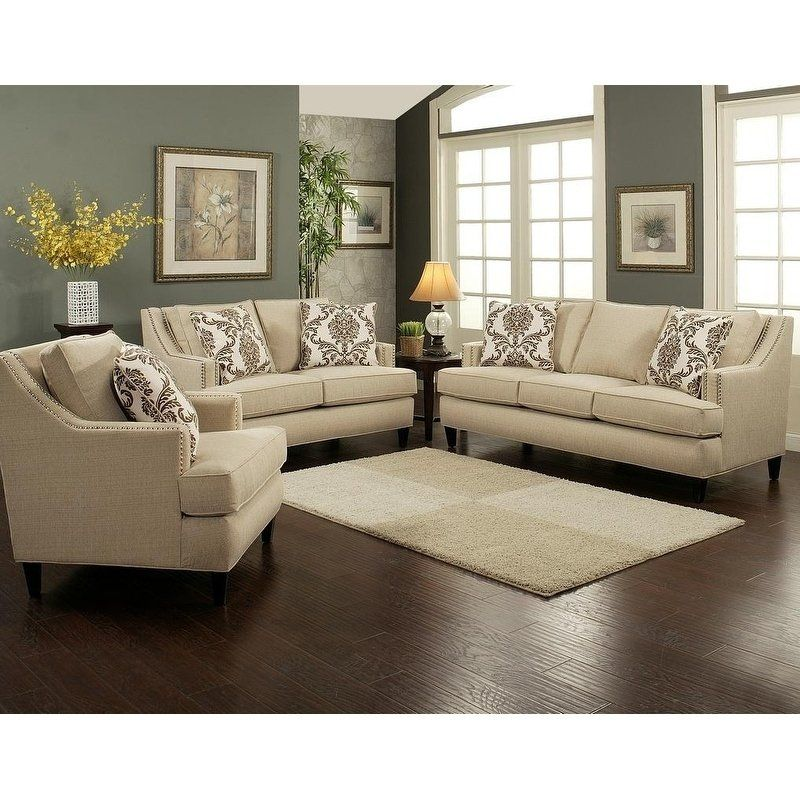 3 Piece Vogue Sofa Set By Arely S Furniture Inc Sloped Arms