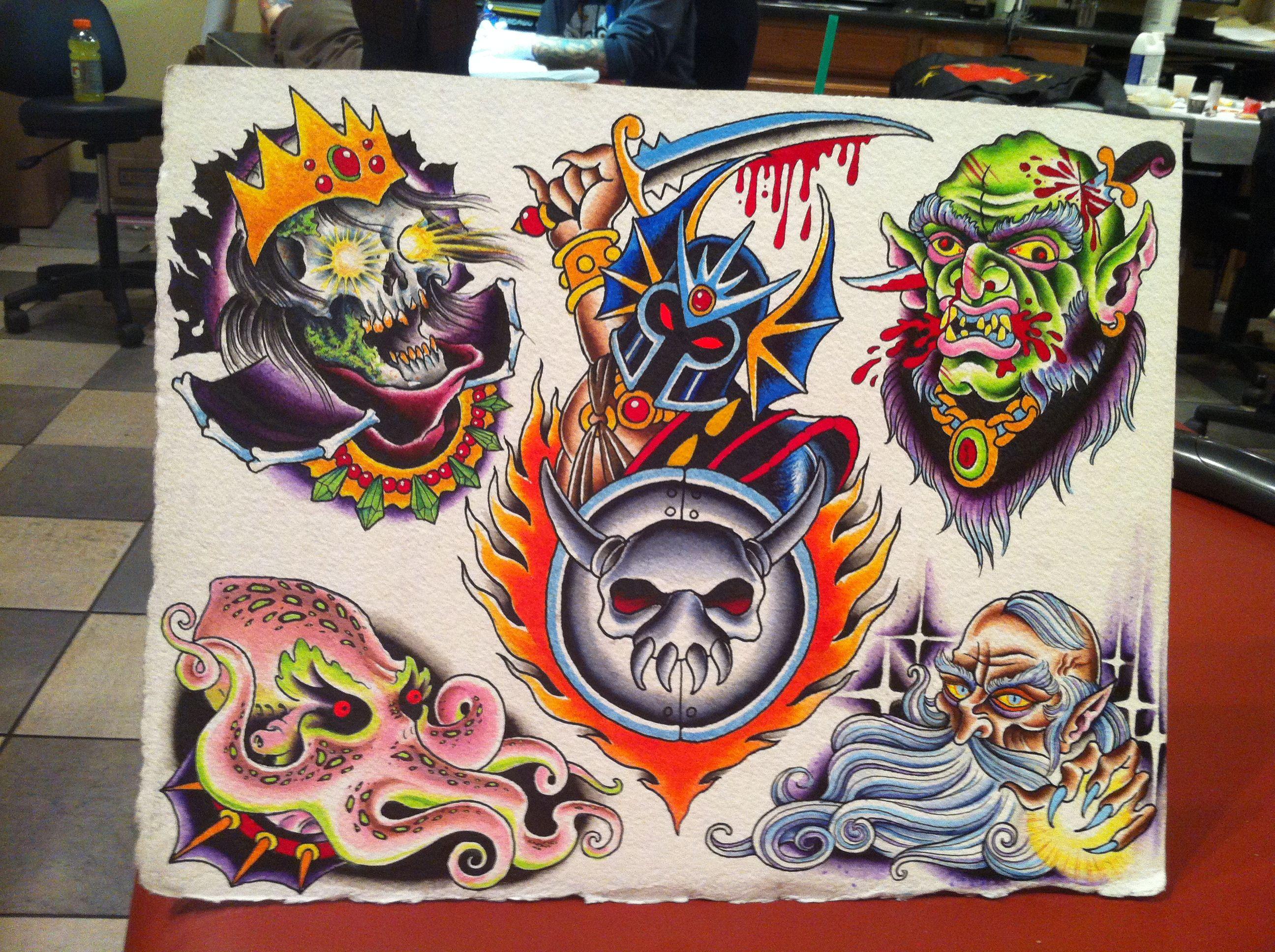 AD tattoo flash by Josh Howard Pioneer Tattoo Chicago