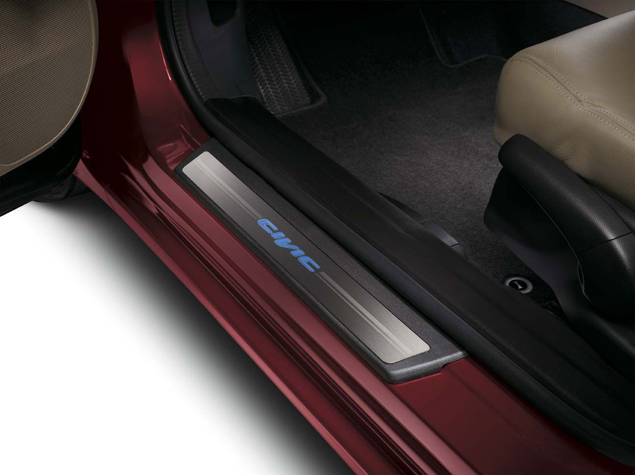 Prevent scratches and dents while providing entry lighting for the driver and passenger. The 2 front step pieces light up blue and function off the door switches. Rear trim is unlighted.