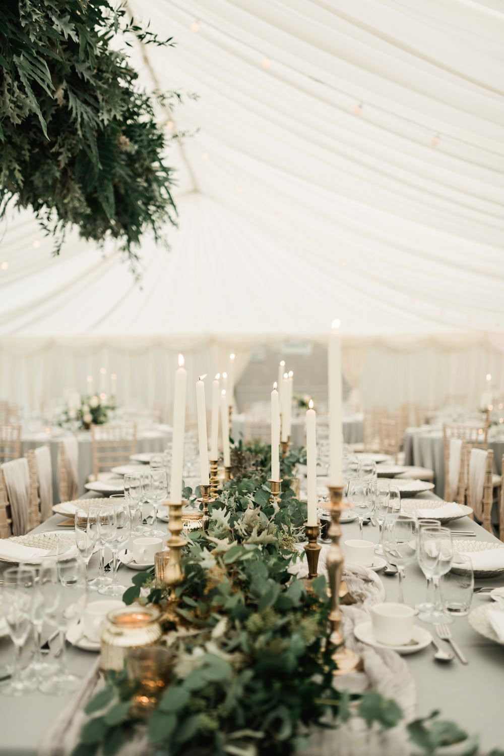 Elegant Grey, Green, White & Gold Black Tie, Marquee Wedding at Tullyveery House N. Ireland with Decor & Styling by Mood Events