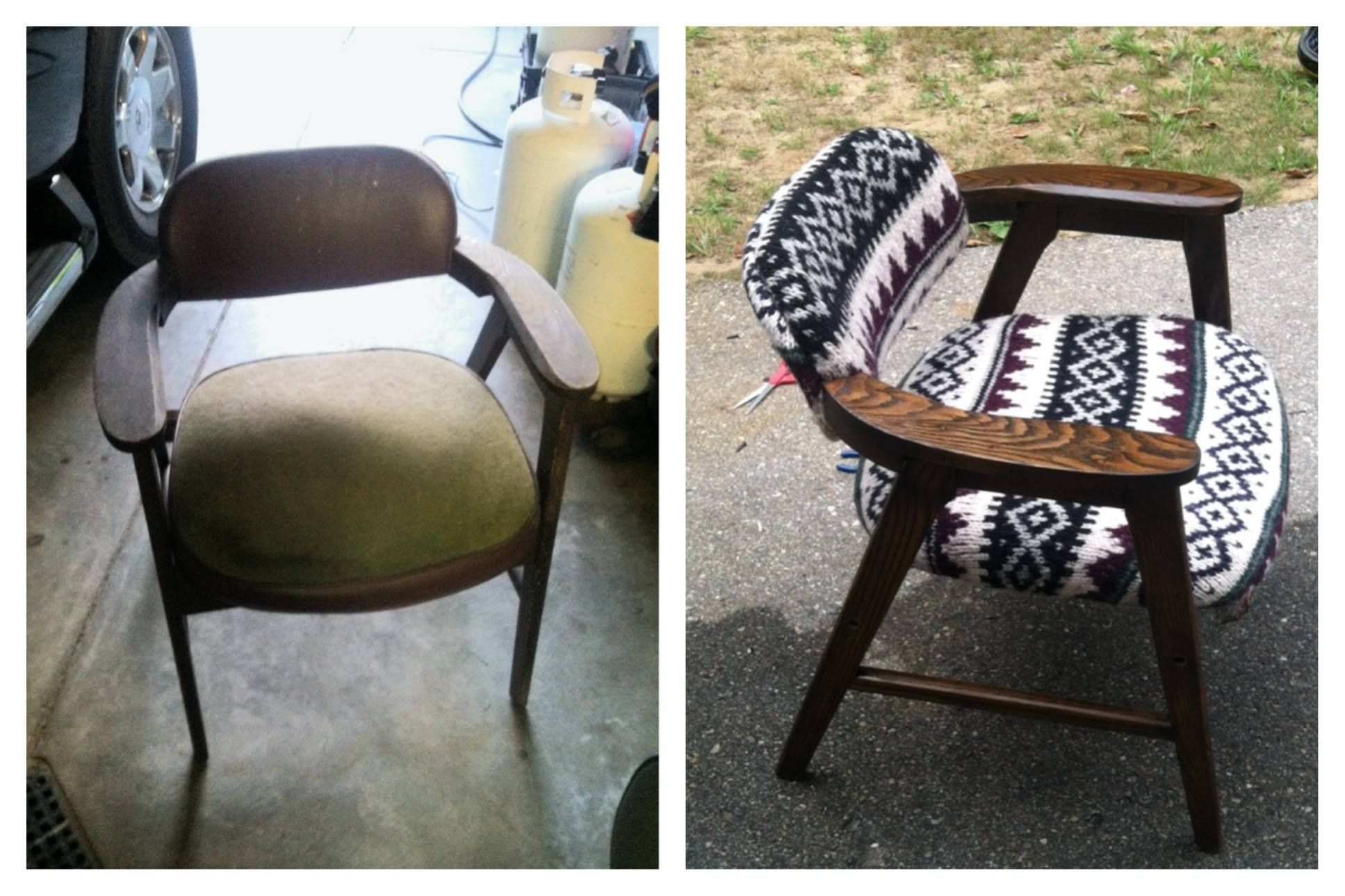 Reupholster Antique Chair With Old Bulky Sweater From The 90u0027s...I Knew I