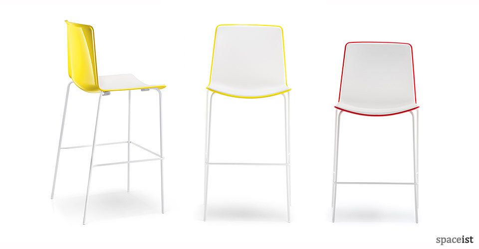 Weet yellow red and black college bar stools