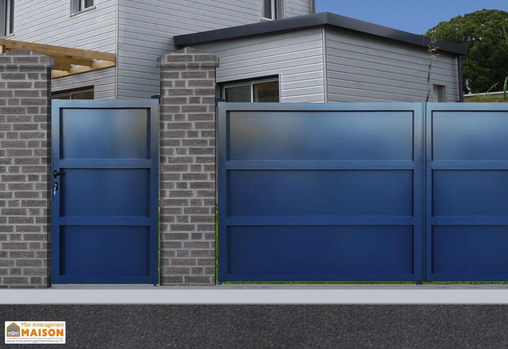 portillon battant en aluminium 1 x 1,80 m peinture laquée grise RAL - peinture de facade maison